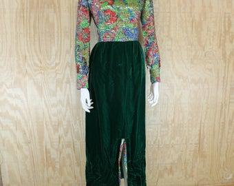 Vintage 1960's Home Sewn Metallic Floral Green Velvet Front Slit Maxi Dress