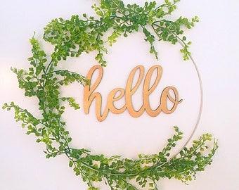 BEST SELLING, Modern wreath, spring wreath, hoop wreath, summer wreath, hello wreath, wreath for summer, door wreath, front door wreath