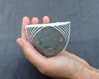 Somber Grey and White Face Cup: espresso-sized, modern handmade, hand built.