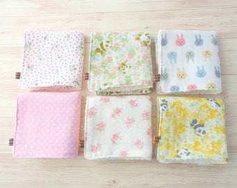Baby Wash Cloths,Set of 6,Girl,Washcloth,Children,Kids,Reusable Baby Wipes,Mini Towel,Japanese Double Gauze Muslin,Super Soft,Panda Bear