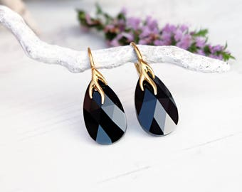 Black crystal earrings Swarovski crystal jewellery Black gold drop earrings Jet teardrop earrings 24k gold plated / Rose gold earrings 5