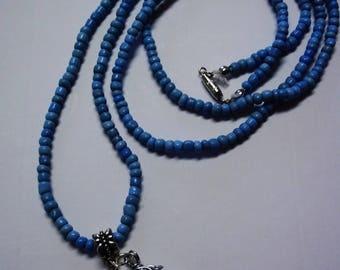 Hand of Buddah Quartz and Blue Glass Bead Pendant Necklace or Wrap Bracelet