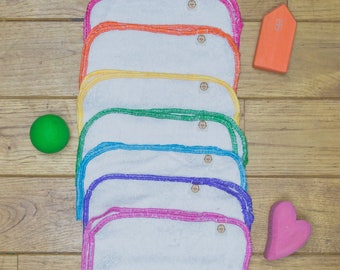 7 Rainbow bamboo french terry reusable baby wipes
