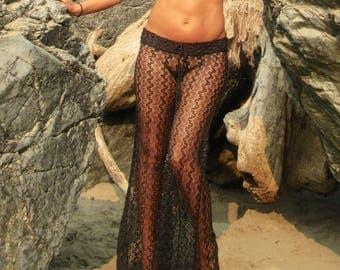 SEXY BLACK crochet lace lingerie boho gypsy festival beach cover resort dance wide leg palazzo pants