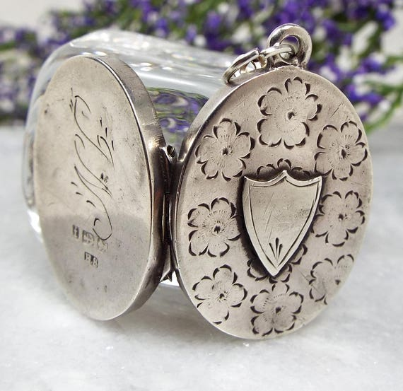 Antique Victorian c1883 Sterling Silver Engraved Shield Flowers Locket Necklace
