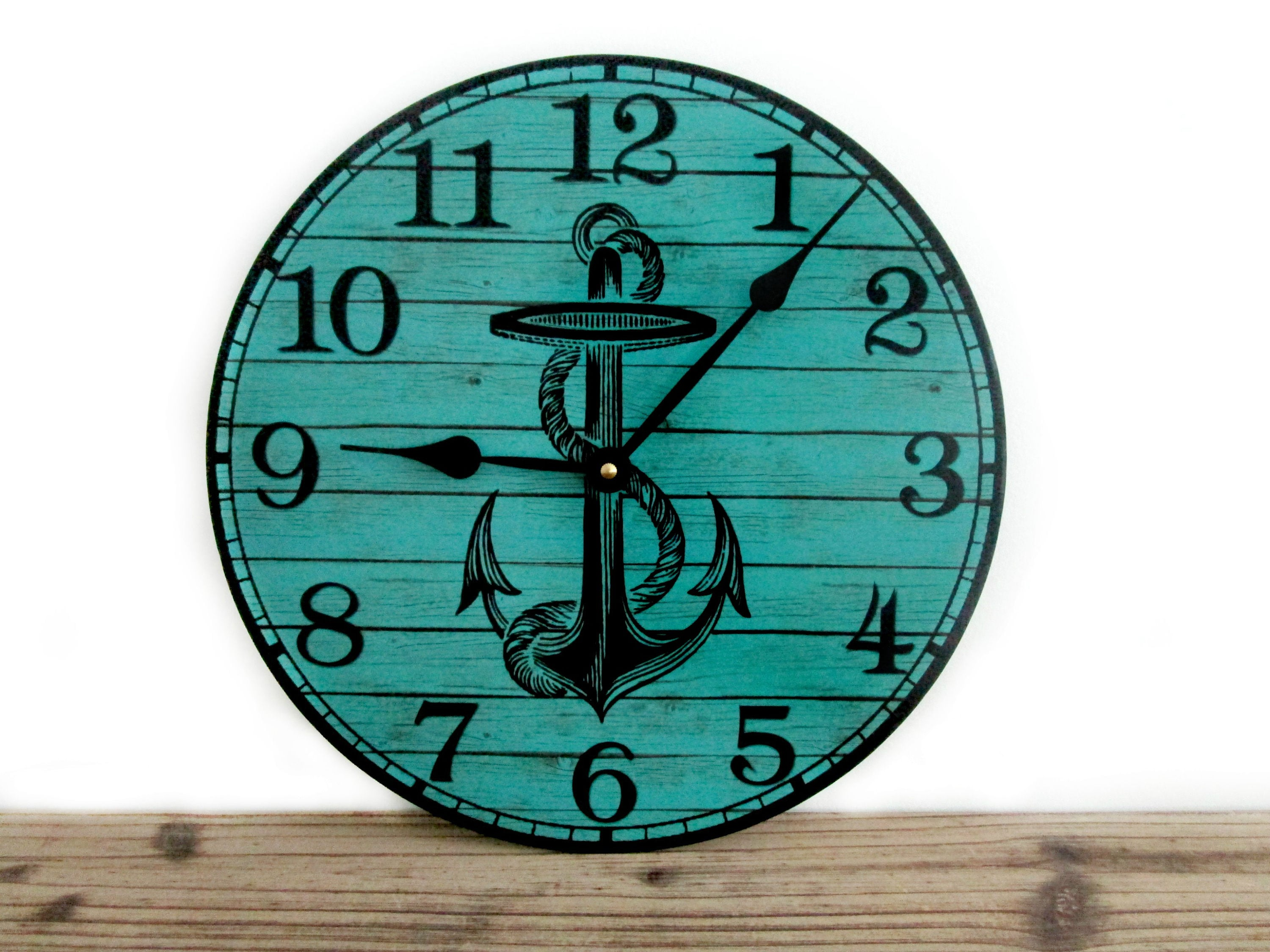 Anchor wall clock nautical wall clock turquoise wood print description beautiful turquoise blue wall clock with a vintage anchor amipublicfo Images