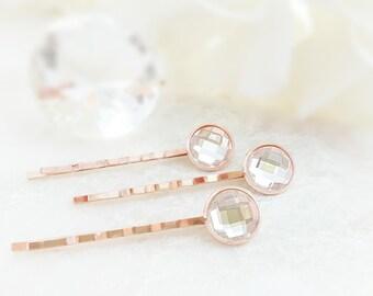 Rose Gold Bobby Pins - Rhinestone Hair Pins - Crystal Bridal Hairpins - Bridesmaid Hair Accessories - Set of 3 - Blush Bridesmaid Gift H4025