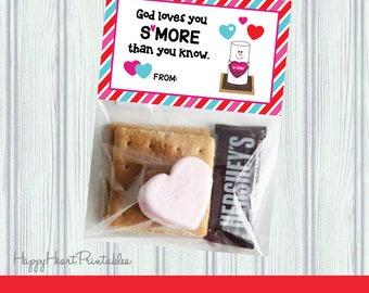 God Loves You   Smore Valentine Printable Topper