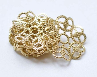 30 pcs Raw Brass Filigree Flower Round Embellishments 15mm A9033