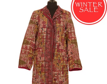 WINTER SALE - Large - Kantha Jacket - Classic style - Size 12/14 - Red Brown with Green