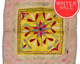 WINTER SALE - Vintage Textile - Vintage Chakla with Flower design on Yellow.