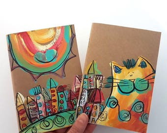 Kraft Notebook, Set of 2, Cats Notebook, Sun Notebook, 4x6 notepad, Whimsical Notebooks, Painted Notebooks, Original Gifts