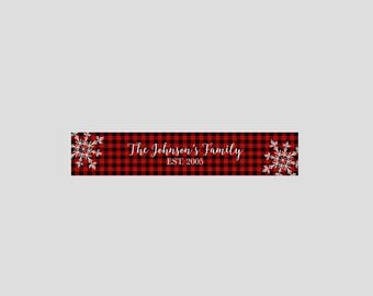 Personalized table runner, established family name, Christmas centerpiece, dining table, kitchen linens, farmhouse plaid pattern