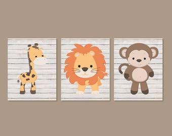 Safari Nursery Art Prints Baby Animal Nursery Art Jungle Animals Baby Boy Nursery Decor Animal Nursery Prints Set of 3 Prints Or Canvas