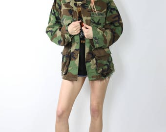 Army Jacket - Camo Print - Military Camouflage Coat - Size Medium
