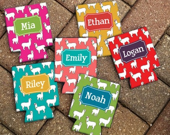 Personalized ALPACA Patterned Can Coolies - Personalized Beer Sleeve - Personalized Gift