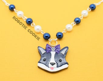 Bella the Corgi Halloween Necklace Polymer Clay - Cheeky Critters - Spooky Cute Costumes - Skull Bow