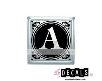 Round Alphabet - Monograms and Weddings - Vinyl Lettering for Glass Blocks - Craft Decals