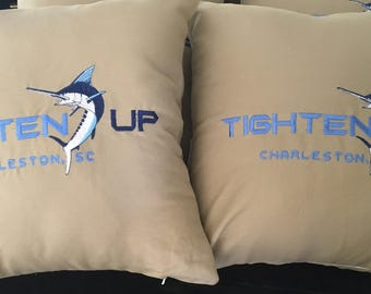Custom Boat pillow with Marlin