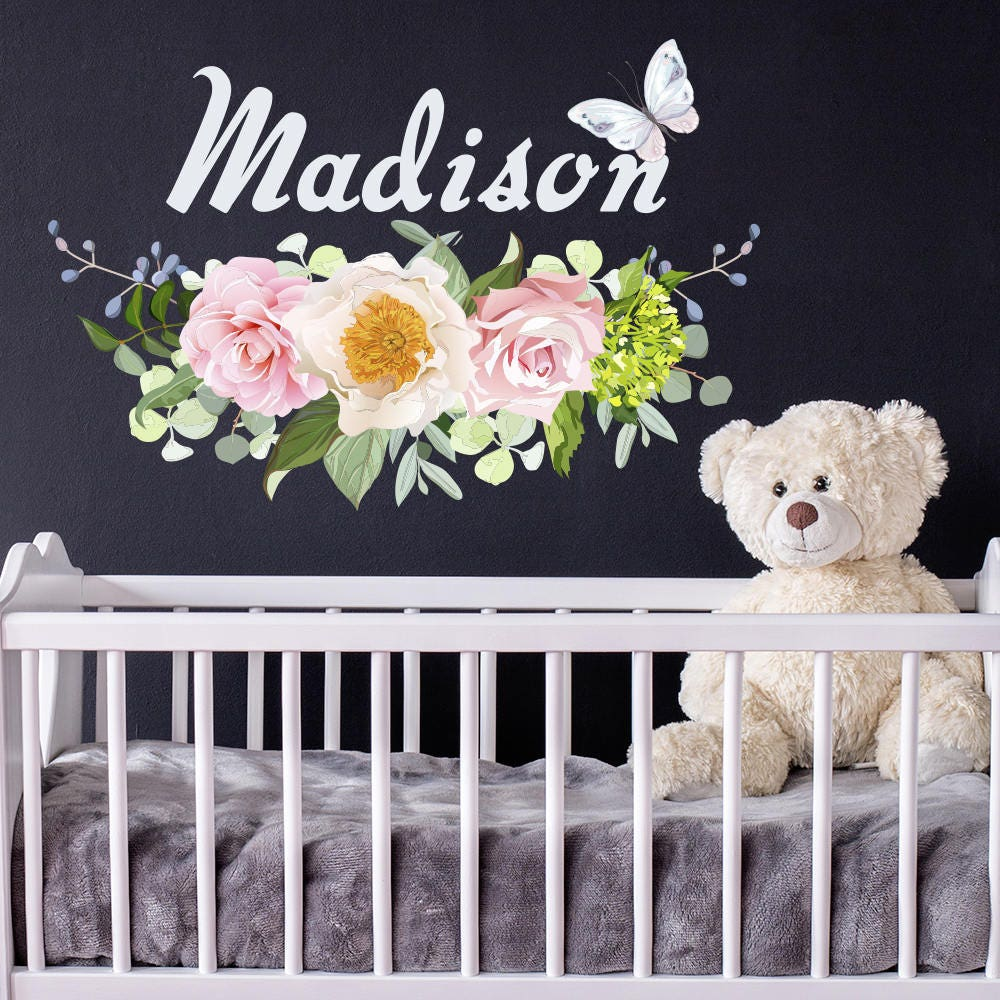 Girls Name Vinyl Wall Decals Flower Decal Nursery Decor - Custom vinyl wall decals flowers