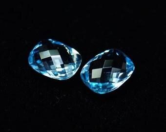 Swiss Blue Topaz Faceted Cushion 10x8 mm Pair Blue Topaz Stones - Briolette gemstone - Earring Blue Topaz Gemstones