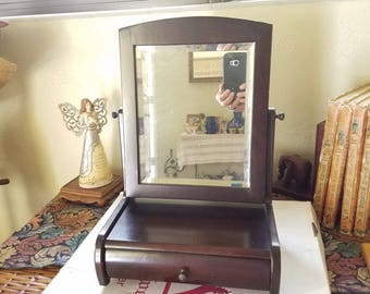 Vintage Beveled Tilting Swivel Mirror Real Wood  Jewelry Box