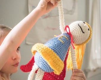 Knit Superhero Doll, Superhero Doll, Supergirl Dolll, Doll with Glasses, Stuffed Superhero Doll, Stuffed Doll, Toy Doll, Hand Knit Doll
