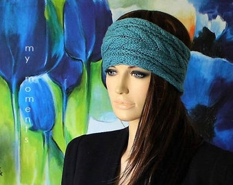 HEADBAND / Hairband Merino smoky mint