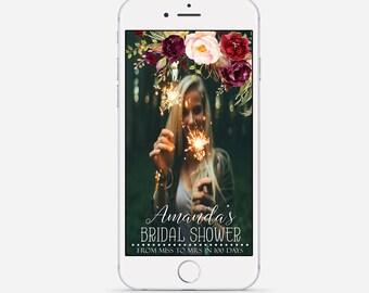 Marsala Bridal Shower Snapchat Geofilter, Custom Bridal Shower Filter, Floral Boho Snapchat Filter, Bridal Shower Geofilter, Bridal Snapchat