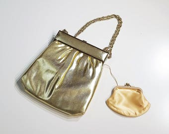 Metallic Gold Lame Purse with insert Coin Purse Gold Double Chain Handle and Gold Satin Lining presented by Donellensvintage