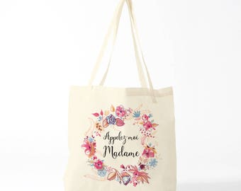 Appelez-moi Madame, Call Me Miss, tote bag, canvas bag, wedding.