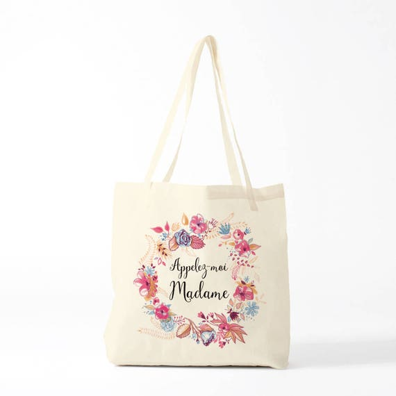 Appelez-moi Madame, Call Me Miss, tote bag, canvas bag, wedding.