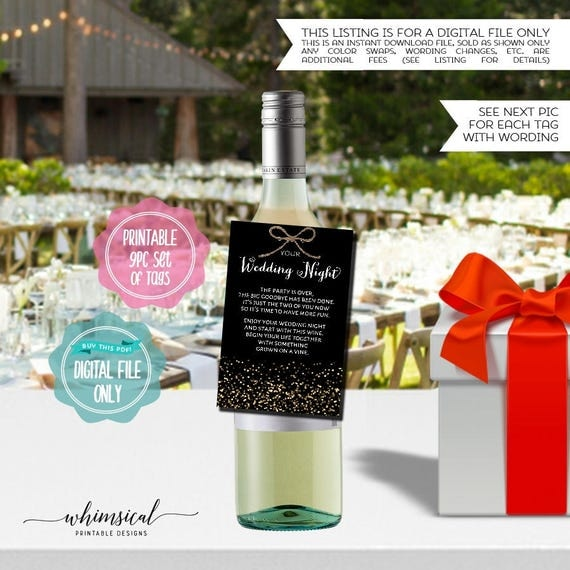 Year Of Firsts Wine Bottle Tags Black Gold Sparkle Printable