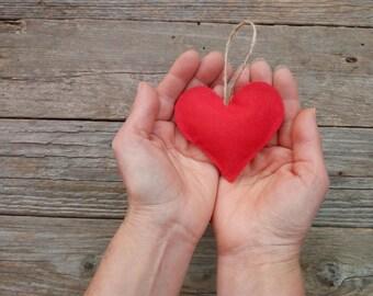 Felt heart ornaments, set of 50 red felt heart felt, red felt felt heart for christmas tree decoration, red wedding favor