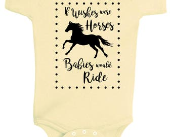 FINAL SALE: If Wishes Were Horses One Piece Bodysuit - Banana or Mint