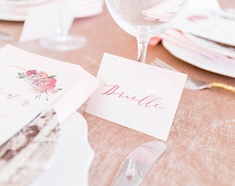 2.5x3.5 Blush Pink and Burgundy Marsala Calligraphy Wedding Place Cards with Printed Guest Names