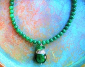 Emerald green necklace, Jade necklace, prom necklace, spring necklace, may necklace, girlfriend gift, mothers gift, gift for her,