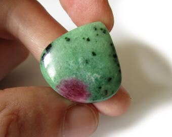 New! Ruby in Zoisite Cabochon 28mmX28mm Drop Shape Ruby Zoisite/Rubizoite/Anyolite/Ruby-in-zoisite Stone Mineral N.266C