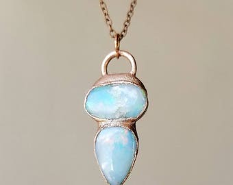 Australian Opal Necklace // Opal Jewelry For Her Raw Crystal Necklace Labradorite Pendant Moonstone Jewelry Moonstone Necklace