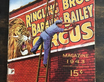 1943 Ringling Brothers and Barnim & Bailey Circus Magazine / Program / Vintage Advertising / Big Top / Clowns / Coca-Cola / Shell / Camel