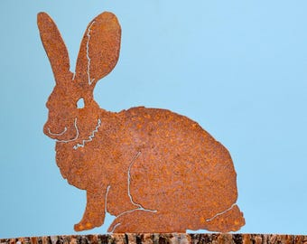 A207 Mama Bunny - Steel Rabbit Silhouette with Rusty Patina