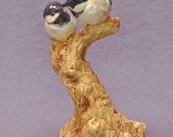 Handmade Ceramic Love Birds on a Tree - Bird Sculpture, Bird Figurine, Wedding Gift