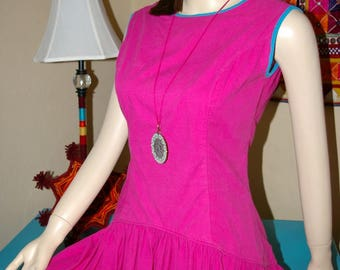 VINTAGE Barboglio Cristina - Jan * Drop Waist Asymmetric High-low Dress * Size 8 / 10