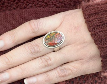 Summer Sunset Ammolite Ring // Ammolite Jewelry // Ammonite Jewelry // Fossil Jewelry // Sterling Silver // Village Silversmith