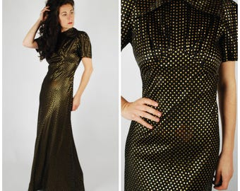 30's 40's Dress - 30's Evening Gown - Black Gold Metallic Dress - Size S