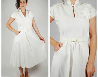 1940's Dress - 40's White Cotton Dress - Summer Dress - Size XS/S