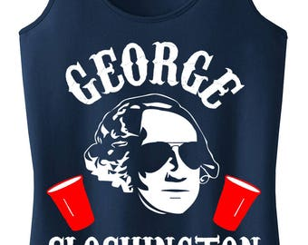 GEORGE SLOSHINGTON 4th of JULY Tank Top - Navy Blue with White & Red Print, Fourth of July Shirt, Patriotic, Drinking, President Tank