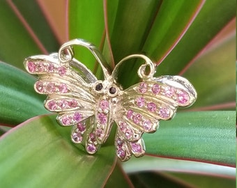 14 K white gold pink sapphire pendant
