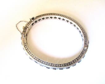 1/4-Inch Wide Sterling Silver & Paste Stone Deco Hinged Bangle Bracelet