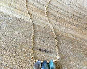 Labradorite Necklace Labradorite Jewelry Labradorite Gemstone Necklace Trio Gemstone Necklace 14k gold filled Beach wedding Bridesmaid Sets
